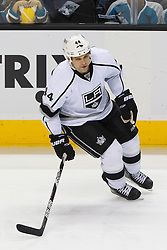 Dec 23, 2011; San Jose, CA, USA; Los Angeles Kings defenseman Davis Drewiske (44) warms up before the game against the San Jose Sharks at HP Pavilion. San Jose defeated Los Angeles 2-1 in shootouts. Mandatory Credit: Jason O. Watson-US PRESSWIRE