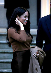 Prince Harry (Duke of Sussex) and Meghan Markle (Duchess of Sussex) visit Canada House, London, UK, on January 7, 2020.<br />