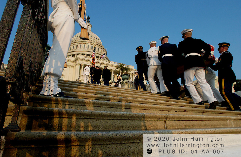 The casson of former President of the United States  Ronald Reagan is escorted by soldiers on Wednesday June 9, 2004.