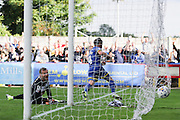 Dannie Bulman of AFC Wimbledon scores and celebrates during the Sky Bet League 2 match between AFC Wimbledon and Notts County at the Cherry Red Records Stadium, Kingston, England on 19 September 2015. Photo by Stuart Butcher.