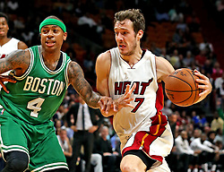November 28, 2016 - Miami, FL, USA - The Miami Heat's Goran Dragic charges the basket while the Boston Celtics' Isaiah Thomas guards him in the second quarter on Monday, Nov. 28, 2016 at the AmericanAirlines Arena in Miami, Fla. (Credit Image: © Charles Trainor Jr/TNS via ZUMA Wire)