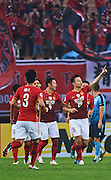 GUANGZHOU, CHINA - MAY 03:  Gao Lin of Guangzhou Evergrande celebrates after scoring a goal during the AFC Asian Champions League match between Guangzhou Evergrande FC and Sydney FC at Tianhe Stadium on May 3, 2016 in Guangzhou, China.  (Photo by Aitor Alcalde Colomer/Getty Images)