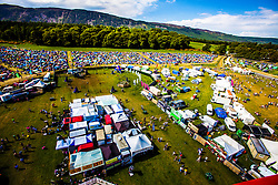 "The view from the Giant Wheel, overlooking the campsite area. Saturday at Rockness 2013, the annual music festival which took place in Scotland at Clune Farm, Dores, on the banks of Loch Ness, near Inverness in the Scottish Highlands. The festival is known as ""the most beautiful festival in the world"" ."