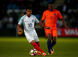 Marcus Edwards of England Under 20s goes past Sherel Floranus of Netherlands Under 20s - Mandatory by-line: Robbie Stephenson/JMP - 31/08/2017 - FOOTBALL - Telford AFC - Telford, United Kingdom - England v The Netherlands - International Friendly