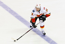 Jan 17, 2012; San Jose, CA, USA; Calgary Flames center Blair Jones (19) skates with the puck against the San Jose Sharks during the third period at HP Pavilion. San Jose defeated Calgary 2-1 in shootouts. Mandatory Credit: Jason O. Watson-US PRESSWIRE