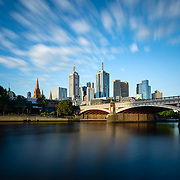 Princes Bridge and Melbourne skyline along the Yarra River