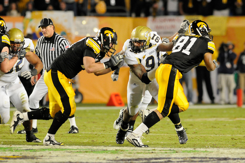 January 5, 2010: Derrick Morgan of the Georgia Tech Yellow Jackets in action during the NCAA football game between the Georgia Tech Yellow Jackets and the Iowa Hawkeyes in the FedEx Orange Bowl at LandShark Stadium in Miami Gardens, Florida. The Hawkeyes defeated the Yellow Jackets 24-14.