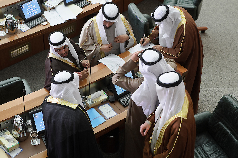 Some MPs deep in discussions following the state opening of parliament's 14th legislative term's first session presided over by HH the Emir Sheikh Sabah Al-Ahmad Al-Sabah Feb 15, 2012. Kuwaitis voted Feb. 2 for a new 50-member parliament (National Assembly).