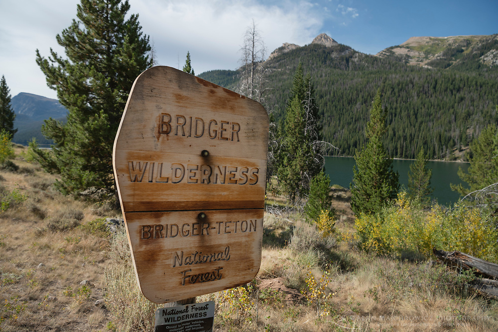 Bridger Wilderness boundary sign on Green River Lakes Trail, Wind River range Wyoming