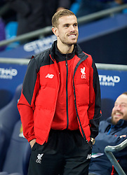 MANCHESTER, ENGLAND - Saturday, November 21, 2015: Liverpool's injured captain Jordan Henderson before the Premier League match against Manchester City at the City of Manchester Stadium. (Pic by David Rawcliffe/Propaganda)