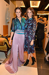 Left to right, ROSANNA FALCONER and LADY VIOLET MANNERS at a party to celebrate the launch of Olivia von Halle, 151 Sloane Street, London on 25thNovember 2015