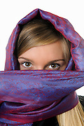 Blond model with a veil, mideastern style