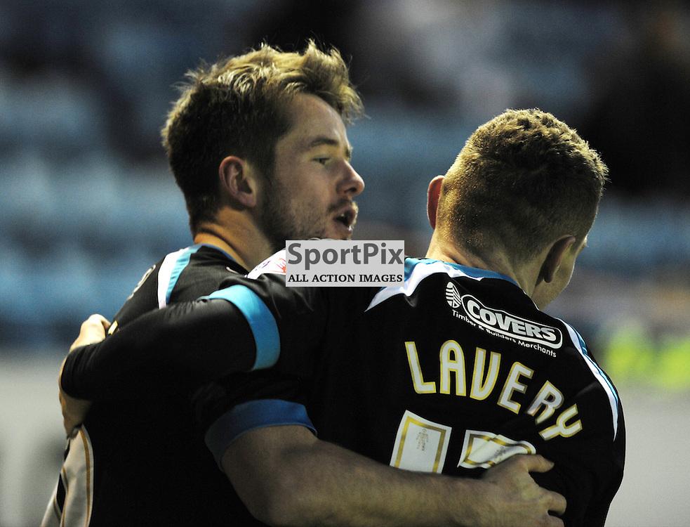 Marc McNulty (Portsmouth, black &amp; blue) scores to make it 1-2<br /> <br /> Carlisle United v Portsmouth, SKY BET LEAGUE 2, 21st November 2015<br /> <br /> (c) Alex Todd | SportPix.org.uk