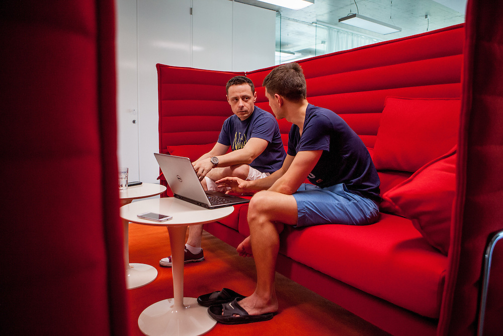 Employees discussing project in a chill out corner at the headquaters of the web portal Seznam.cz located in Prague Smichov. Employees are allowed and welcome to take their dogs with them to work. Seznam.cz is a web portal and search engine in the Czech Republic. Founded in 1996 by Ivo Lukačovič in Prague as the first web portal in the Czech Republic. Seznam started with a search engine and an internet version of yellow pages. Today, Seznam runs more than 15 different web services and associated brands. Seznam had more than 6 million real users per month at the end of 2014.[3] Among the most popular services, according to NetMonitor, are its homepage seznam.cz, email.cz, search.seznam.cz and its yellow pages firmy.cz
