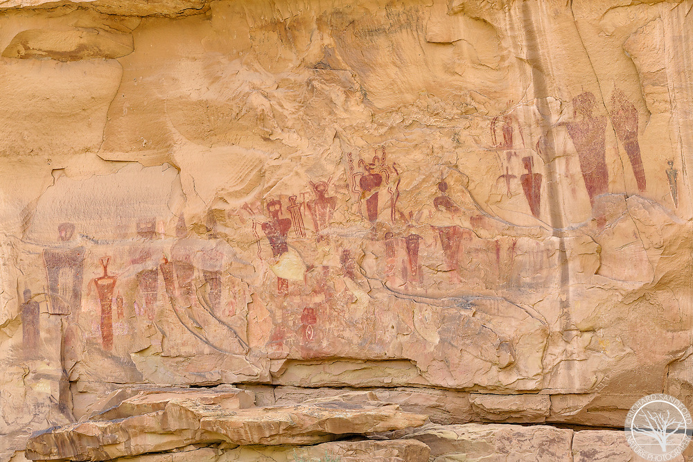 Beautiful Barrier-style pictographs found on the canyon wall of Sego Canyon, near Thompson Springs, Utah