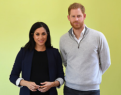 Prince Harry, Duke of Sussex, and Meghan Markle, Duchess of Sussex, visit Lycée Qualifiant Grand Atlas and meet students and teachers in Asni Town, Atlas Mountains, Morocco, on the 24th February 2019. 24 Feb 2019 Pictured: Meghan Markle, Duchess of Sussex, Prince Harry, Duke of Sussex. Photo credit: James Whatling / MEGA TheMegaAgency.com +1 888 505 6342