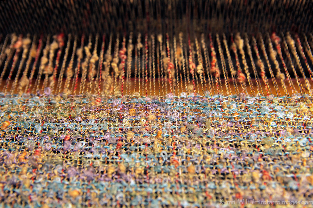 Europe, Ireland, Avoca. Avoca Handweavers Mill, County Wicklow. Woollen Threads on Loom.