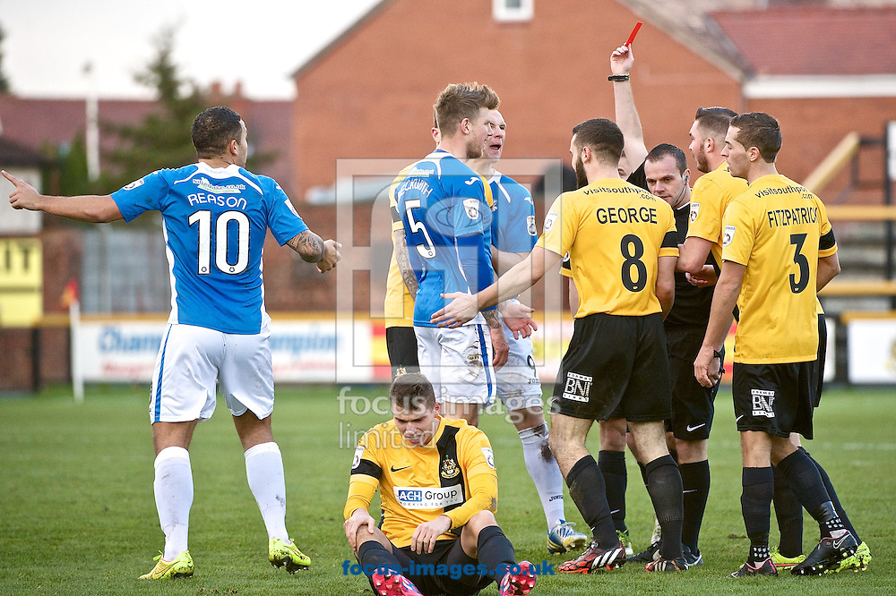 Dean Beckwith of Eastleigh (number 5) is sent off during the The FA Cup match at Haig Avenue, Southport<br /> Picture by Ian Wadkins/Focus Images Ltd +44 7877 568959<br /> 07/12/2014