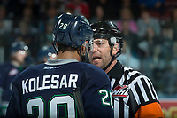 KELOWNA, CANADA - APRIL 30: Keegan Kolesar #28 of the Seattle Thunderbirds speaks to referee Reagan Vetter after a call during first period at the Kelowna Rockets  on April 30, 2017 at Prospera Place in Kelowna, British Columbia, Canada.  (Photo by Marissa Baecker/Shoot the Breeze)  *** Local Caption ***