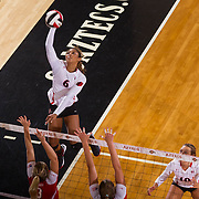 26 August 2016: The San Diego State Aztecs took on the Marist Red Foxes to open up the season.  OH Ashlynn Dunbar (6) spikes the ball in the third set. The Aztecs swept the Red Foxes 3-0 in their opening match of the Aztec Invitational at Peterson Gym on the campus of SDSU. www.sdsuaztecphotos.com