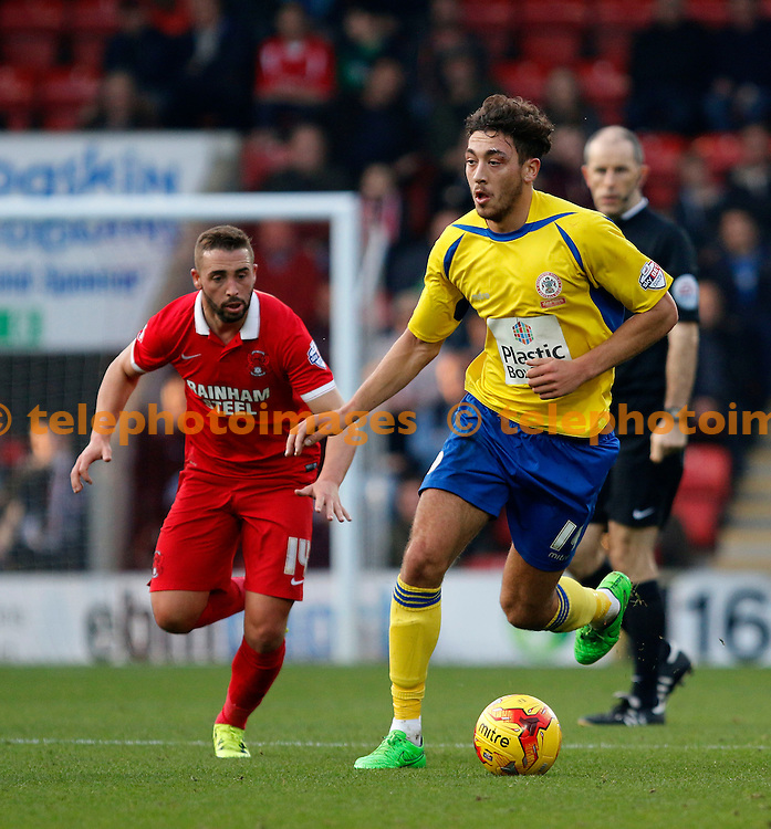 Matty Crooks of Accrington Stanley in action during the Sky Bet League 2 match between Leyton Orient and Accrington Stanley at the Matchroom Stadium in London. October 31, 2015.<br /> Carlton Myrie / Telephoto Images<br /> +44 7967 642437