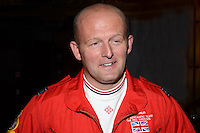 Squadron Leader Ross Priday, Red Arrows acrobatic display team, UK, who was one of the lecturers on the Queen Mary 2 during voyage, May 2013, from New York to South Hampton. 201305072426<br /> <br /> Copyright Image from Victor Patterson, 54 Dorchester Park, Belfast, UK, BT9 6RJ<br /> <br /> Tel: +44 28 9066 1296<br /> Mob: +44 7802 353836<br /> Voicemail +44 20 8816 7153<br /> Skype: victorpattersonbelfast<br /> Email: victorpatterson@me.com<br /> Email: victorpatterson@ireland.com (back-up)<br /> <br /> IMPORTANT: If you wish to use this image or any other of my images please go to www.victorpatterson.com and click on the Terms & Conditions. Then contact me by email or phone with the reference number(s) of the image(s) concerned.