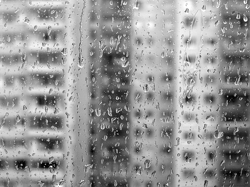 Rain on the window old socialist syle housing in the background from Neighborhoods series.