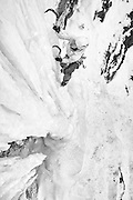 """Former mixed climbing world champion Ines Papert climbing the fifth pitch of """"Stairway to Heaven"""" an ice climb in Provo Canyon Utah"""
