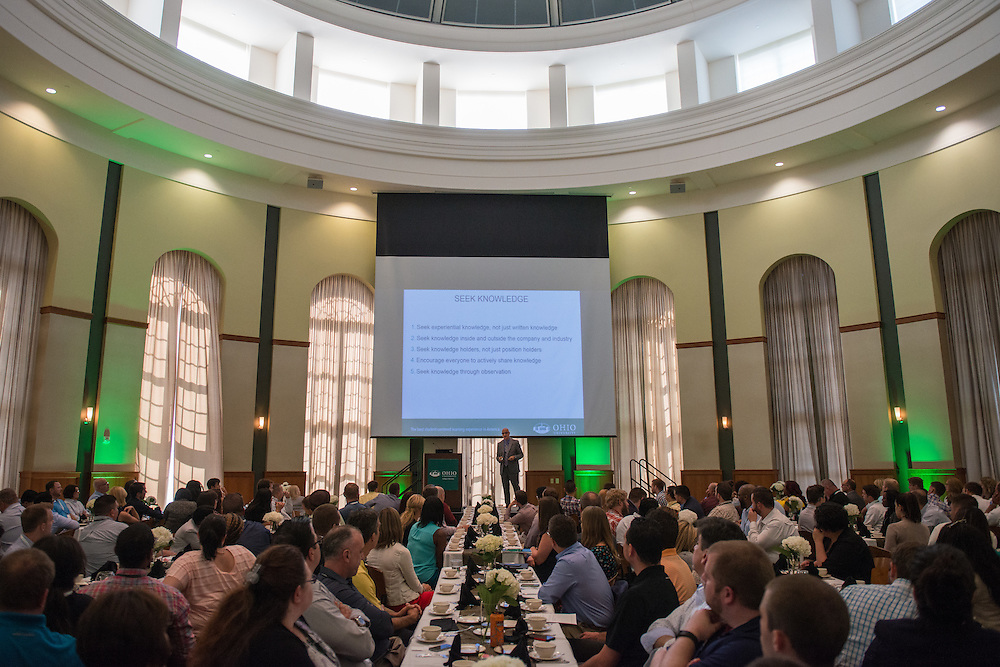 Tom Marchese, Executive-in-Residence and Assiciate Director of the Ohio University College of Business Honors Program, speaks with attendees of the Ohio MBA Leadership Development Workshop at the Walter Rotunda in Athens, Ohio on Saturday, August 27, 2016.