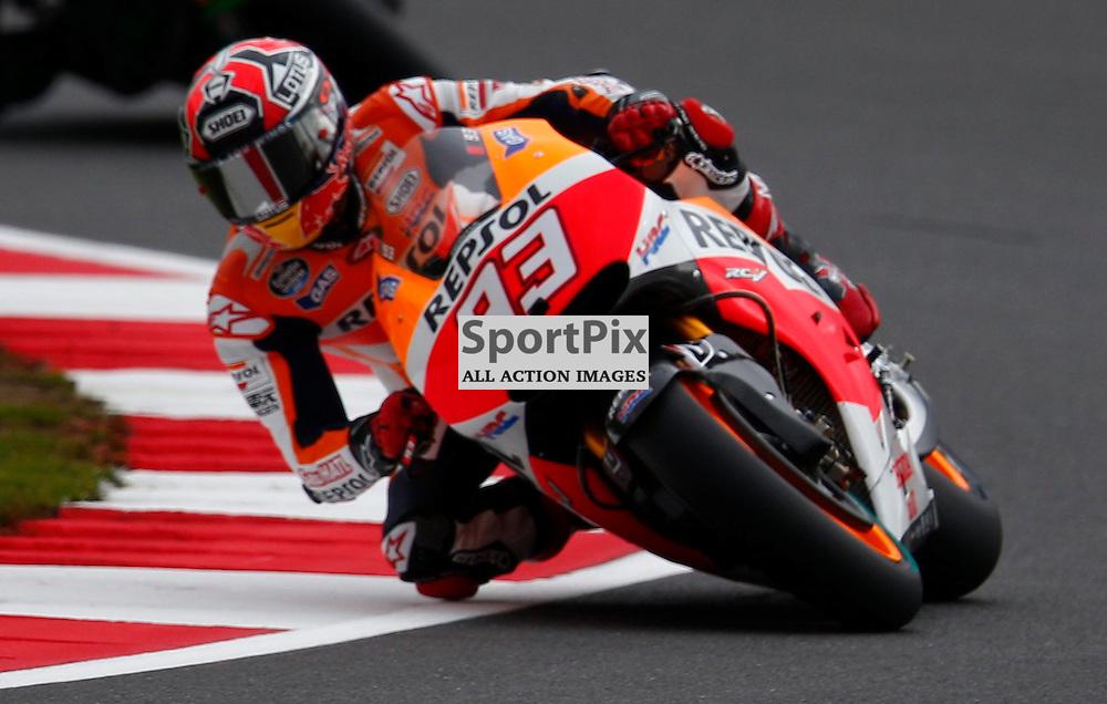 HERTZ BRITISH GRAND PRIX ..Marc Marquez rides his Repsol Honda Team machine riding in the Moto GP first free practice session..(c) STEPHEN LAWSON | SportPix.org.uk