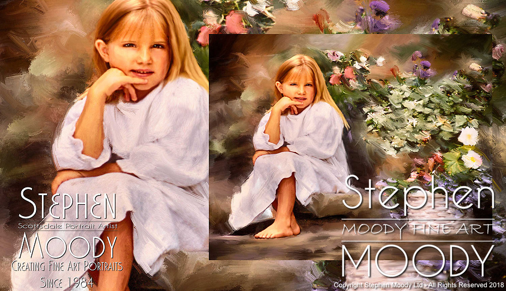 Saturday Afternoon - Portait of young girl with flowers. Fine Art Portraits by Scottsdale Portrait Artist Stephen Moody - Commissioned Mixed Media Portraiture