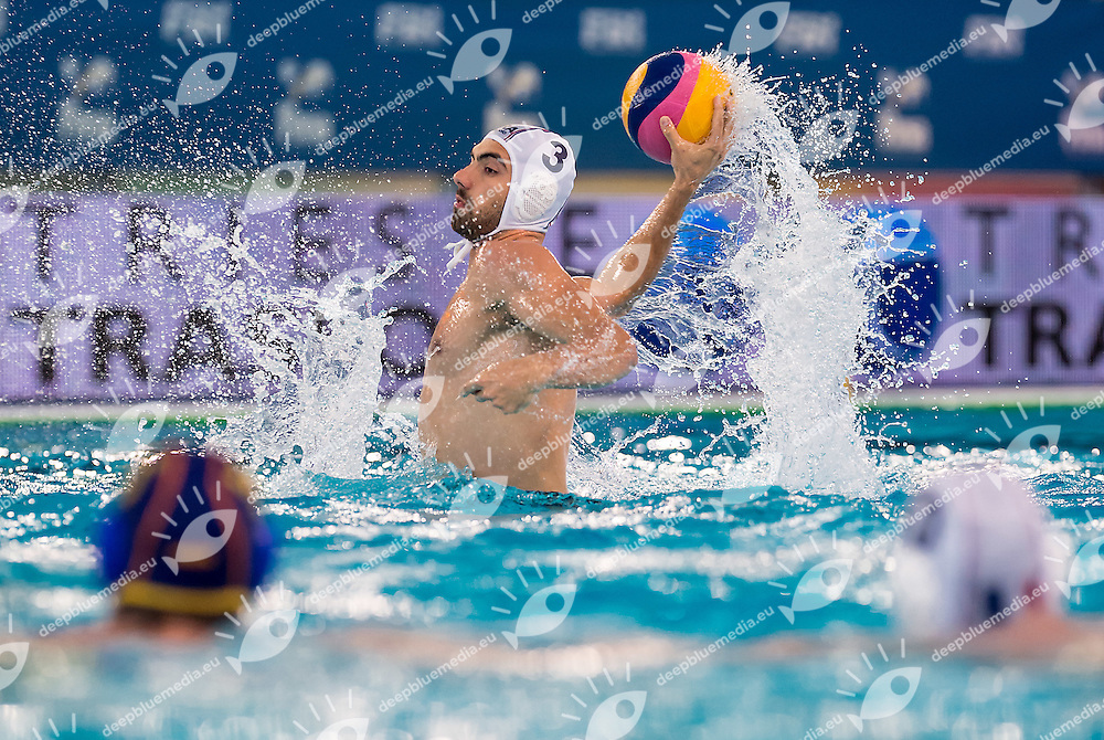 3 Igor KOVACEVIC FRA<br /> FINA Men's Water polo Olympic Games Qualifications Tournament 2016<br /> Final 3rd place<br /> France FRA (White) Vs Spain ESP (Blue)<br /> Trieste, Italy - Swimming Pool Bruno Bianchi<br /> Day 08  10-04-2016<br /> Photo G.Scala/Insidefoto/Deepbluemedia