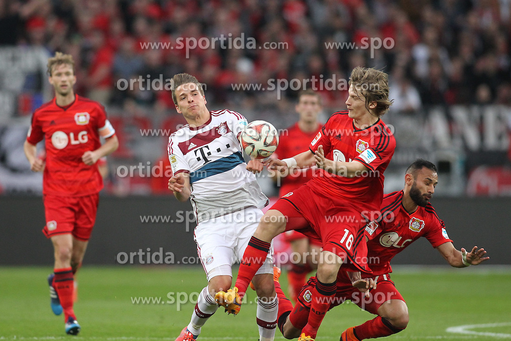 02.05.2015, BayArena, Leverkusen, GER, 1. FBL, Bayer 04 Leverkusen vs FC Bayern Muenchen, 31. Runde, im Bild Lukas Goertler (FC Bayern Muenchen #40) im Zweikampf gegen Tin Jedvaj (Bayer 04 Leverkusen #16) // during the German Bundesliga 31th round match between Bayer 04 Leverkusen and FC Bayern Munich at the BayArena in Leverkusen, Germany on 2015/05/02. EXPA Pictures &copy; 2015, PhotoCredit: EXPA/ Eibner-Pressefoto/ Schueler<br /> <br /> *****ATTENTION - OUT of GER*****