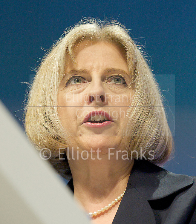 Conservative Party Annual Conference, Manchester, Great Britain <br /> 2nd - 5th October 2011 <br /> <br /> The Right Honourable<br /> Theresa May <br /> MP<br /> <br /> Home Secretary<br /> <br /> Photograph by Elliott Franks