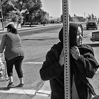 An elderly woman waits outside of a food distribution site in San Joaquin in Fresno County in California's Central Valley, CA, Wednesday, Oct. 5, 2016. One of the worst droughts in California history officially ended this spring in all of the state's counties except Fresno, Kings, Tulare and Tuolumne. <br />