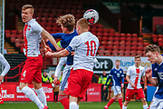 Poland Captain Michal Rakoczy heads the ball clear during the U17 European Championships match between Scotland and Poland at Firhill Stadium, Maryhill, Scotland on 26 March 2019.