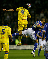 Photo: Steve Bond.<br />Leicester City v Leeds United. Coca Cola Championship. 13/03/2007. Jonathan Douglas (left) outjumps Jason Jarrett (right)