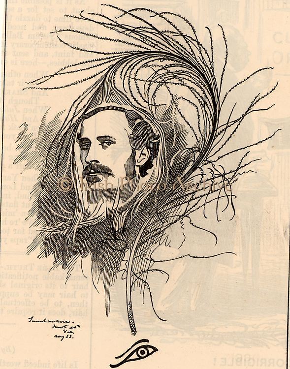 Ellis Ashmead-Bartlett (1849-1902) English Conservative politician born in America. Member of Parliament for Eye, Suffolk (1880-1885) and Sheffield Ecclesall (1885-1902). Advocate of British imperialism. Cartoon by Edward Linley Sambourne in the Punch's Fancy Portraits series from 'Punch' (London, 18 August 1883).