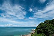 Sea and sky seen from the coast of Isla Pacheca. Las Perlas Archipelago, Panama Province, Panama, Central America.