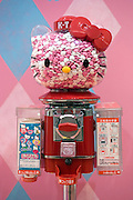 A Hello Kitty dispensing machine selling heart-shaped candy for 200 yen a pop is shown  during  the opening of Hello Kitty's Kawaii (Cute) Paradise, a Hello Kitty theme store, in Tokyo, Japan on Thursday 21 October  2010. .Photographer: Robert Gilhooly