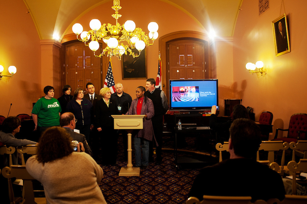 A small press conference is held at the Statehouse in Columbus, Ohio on Friday, February 25, 2011 regarding the lock-out of protestors days before who had come to voice their opinion about the proposed bill. The Statehouse was locked down, with protestors forced to stand outside in the freezing cold. A lawsuit was allegedly to be filed on behalf of the affected protestors. Senate Bill 5 would eliminate collective bargaining rights for state workers, which Governor John Kasich claims is a necessary reaction to the budget crisis.