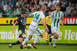 02.06.2019, Merkur Arena, Graz, AUT, 1. FBL, SK Puntigamer Sturm Graz vs SK Rapid Wien, Europe League-Play-off, im Bild von links Otari Kiteishvili (SK Puntigamer Sturm Graz), Srdjan Grahovac (SK Rapid Wien) und Stefan Schwab (SK Rapid Wien) // during the tipico Bundesliga Europa League Playoff Match between SK Puntigamer Sturm Graz and SK Rapid Wien at the Merkur Arena in Graz, Austria on 2019/06/02. EXPA Pictures © 2019, PhotoCredit: EXPA/ Erwin Scheriau