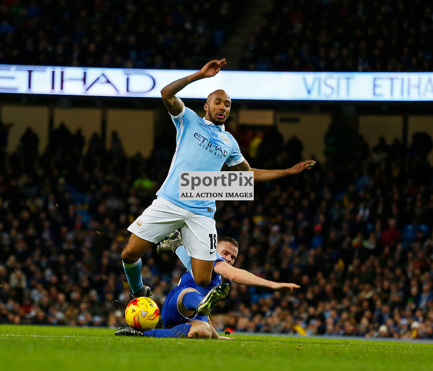 Tom Cleverley tackles Fabian Delph during Manchester City vs Everton, Captial One Cup, Wednesday 27th January 2016, Etihad Stadium, Manchester