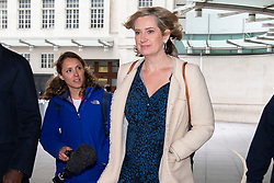 © Licensed to London News Pictures. 14/07/2019. London, UK. Secretary of State for Work and Pensions Amber Rudd leaves the BBC. She leaves after appearing on the Andrew Marr Show. Photo credit: George Cracknell Wright/LNP