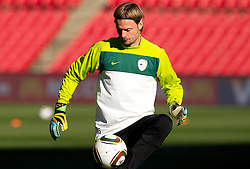 Goalkeeper of Slovenia Aleksander Seliga warm up during training session at Ellis Park on June 17, 2010 in Johannesburg, South Africa. Slovenia will play their next FIFA World Cup Group C match against USA at Ellis Park in on Friday June 18, 2010, in Johannesburg, South Africa. (Photo by Vid Ponikvar / Sportida)