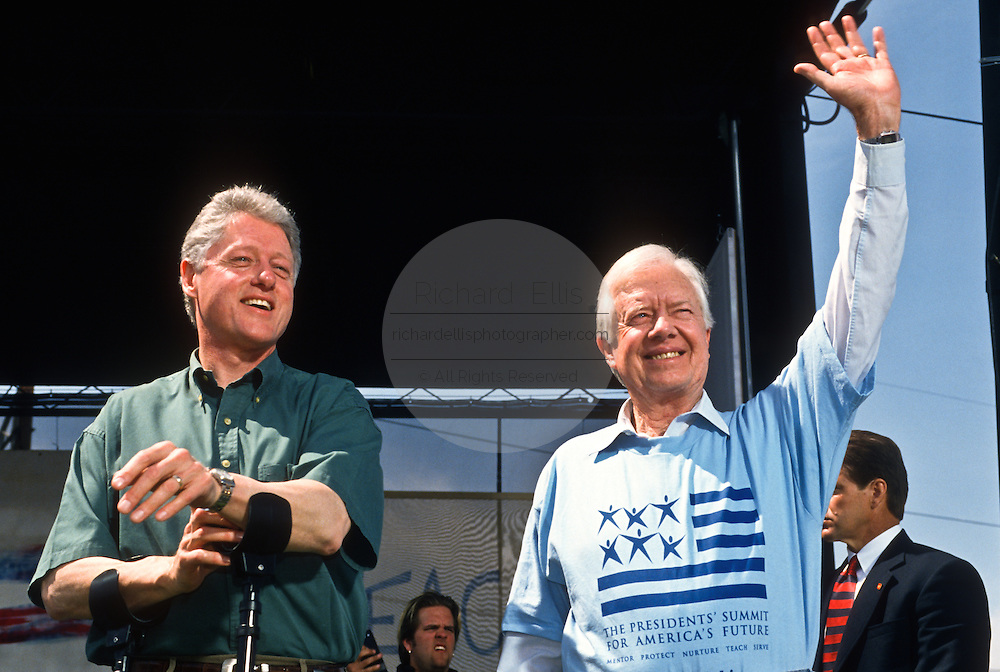 Presidents Bill Clinton and Jimmy Carter at the Presidents Summit for America's Future in Philadelphia, PA.