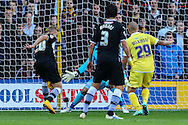 Matej Vydra of Watford (left) scores his team's first goal against Millwall during the Sky Bet Championship match at Vicarage Road, Watford<br /> Picture by David Horn/Focus Images Ltd +44 7545 970036<br /> 01/11/2014