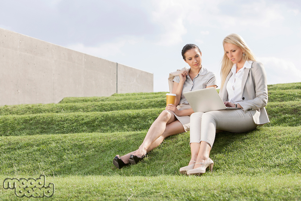 Full length of serious businesswomen looking at laptop while sitting on grass steps against sky