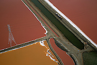 Salt ponds with various colors of algae growing in them.