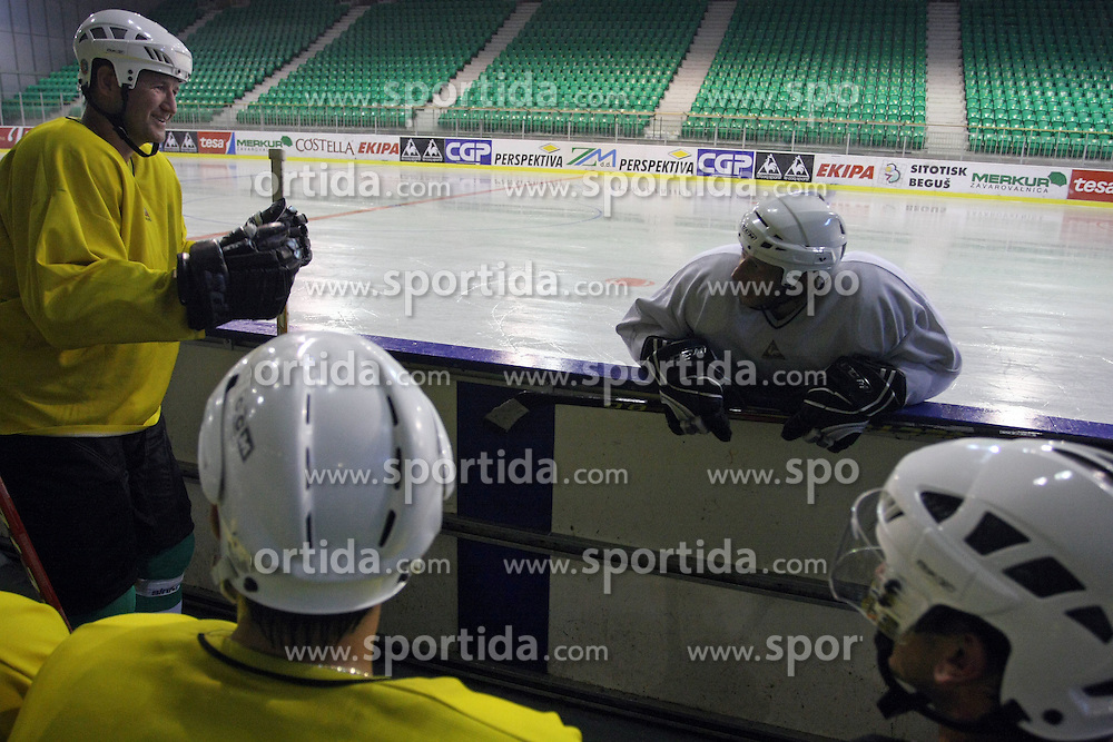 Nik Zupancic and Toaz Vnuk at second ice hockey practice of HDD Tilia Olimpija on ice in the new season 2008/2009, on August 19, 2008 in Hala Tivoli, Ljubljana, Slovenia. (Photo by Vid Ponikvar / Sportal Images)